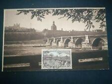 FRANCE CARTE POSTALE YVERT 450 PONT DE LA GUILLOTIERE LYON 90F RHONE 1956