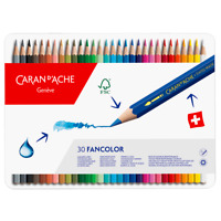 Caran d'Ache Fancolor 30 Water Soluble Colour Pencils Artist Sketching Tin Set