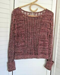 XLNT-FREE PEOPLE-100% Cotton-L/Slv lacy Knit Top - Sz S
