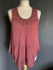 Rise Pink Sleeveless Beaded Top Size 12