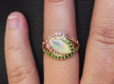 NEW 10K Natural Opal & Pink Tourmaline & Chrome Diopside Ring Yellow Gold Size 6