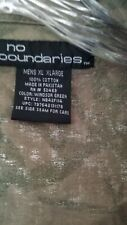 No Boundaries Men XL Asian Symbols on Green Black Long Sleeve Button Shirt