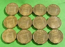 Three Pence 1967 3d Great Britain Coins Lot Of 12 High Grade Luster Last Year