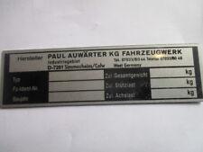 Anhängerschild Typenschild VEB Anhängerbau Arnstadt Anhänger Schild Multicar