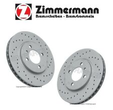 BMW E30 3-Series Set of Two Front Brake Disc Rotors Zimmermann Coat Z X-Drilled