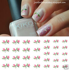 Pink Roses Nail Art Waterslide Decals - Salon Quality - Valentines Day!