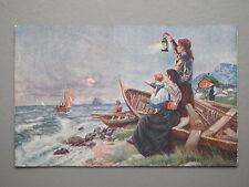 R&L Postcard: Italian Art Card, Sea Fishing Vessels Boats Fisher Wives