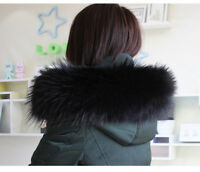 "Real Black Raccoon Fur Collar Down Jacket Hood Trimming Scarf  80*20cm/31X8""inch"