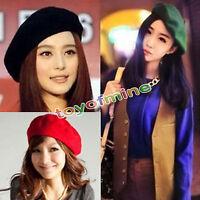 Womens Sweet Solid Warm Wool Winter Beret French Artist Beanie Hat Ski Cap Hat