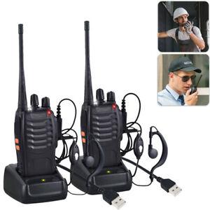 with Headsets Bao feng Walkie Talkies Long Range Two Way Radio UHF 16CH x1