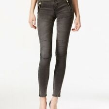 GUESS Womens Size 26 Athletic Skinny Jeans Jegging Black Gray Faded Wash Denim