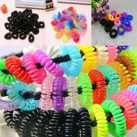12pcs Girl's Elastic Phone Cord Line Rubber Hair Ties Band Rope Ponytail Holder