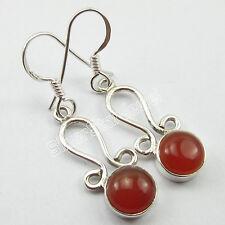 ".925 Solid Silver Earrings 1.5"", Beautiful RED CARNELIAN Gem Ladies Jewellery"