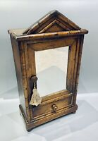 LOVELY ANTIQUE 19th CENTURY FRENCH FAUX BAMBOO MIRRORED MINIATURE ARMOIRE, C1900