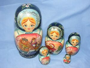 Russian Doll Matryoshka 5 Nesting Dolls Set Russia With Label Winter Christmas