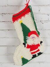 Vintage Crochet Knit 3D Santa Christmas Stocking - Handmade Hand crafted