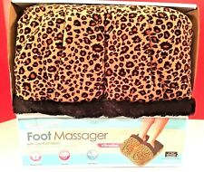 Foot Massager by Health Touch-Vibration- Leopard Fabric Print-Battery Operated
