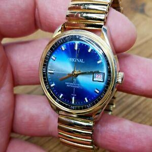 "Nice ""Original"" Waterprotected Swiss Watch, Blue Dial, Ticking but Stops (B144)"