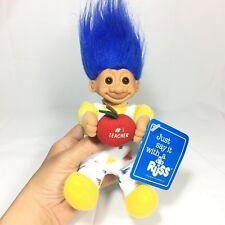 Russ #1 Teacher Troll Soft Body Blue hair with Red Apple and Tag Teacher Gift!