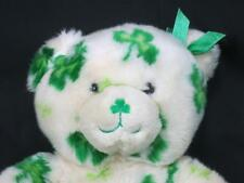 GOOD LUCK CLOVER IRISH ST. PATRICK'S DAY SHAMROCK WHITE GREEN TEDDY BEAR PLUSH