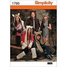 Animal Hats & Accessories Sewing Pattern 1795a by Simplicity