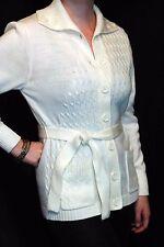 S~M NOS CREAM Vtg 60s Asymmetrical  Cardigan Sweater Big Collar CableKnit Belt