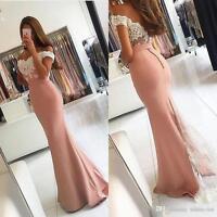 Off Shoulder Mermaid Formal Wedding Prom Party Evening Dresses Backless Custom