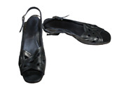 Strappy Pewter Silver Shoes Size 4 Ladies Comfy Sandals Low Heel