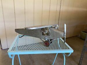 Vintage Folk Art Metal Carved Wood Sculpture Airplane Plane