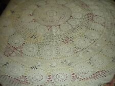 """Vintage Ivory Hand Crochet Oblong Tablecloth Cottage Chic 66"""" x 74"""" #7144"""