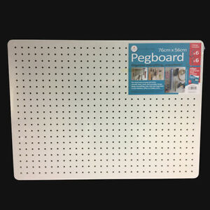 Peg Board with 12 Hooks - White - 76x56cm