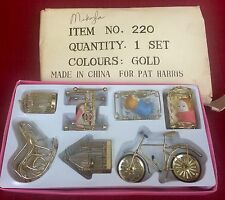 Pat Harris Dollhouse Furniture Gold Set of 7 Miniature Bicycle, Birdcage, Rocker