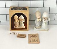 Precious Moments Vintage 1980 Porcelain Bisque Bride & Groom Figurine E-3114