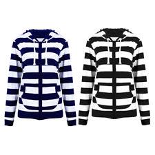 Women Casual Hooded Hoodie Sweats Sports Striped Slim Zipper Lady Jacket Coat