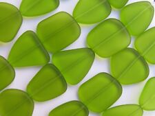 Sea Glass BEADS flat Free form 22-24mm Olive Green 5 strand HANK making jewelry