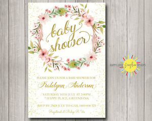 Custom Baby Shower Invitation Boho Floral Feather Wreath Gold Foil Faux Confetti