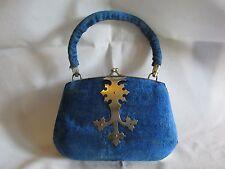 Rare Antique blue velvet sewing set ? make up purse ? shape of handbag or purse