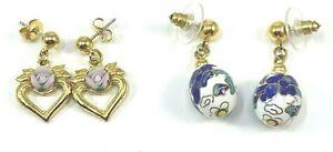 Vintage Dangle Pierced Earrings Avon Porcelain Rose Cloisonné Enamel Egg Lot of