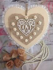 Shabby Chic Handmade Heart Plaque Vintage Pretty Lace Hanging Love Heart