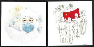 China 2020 Fight Against Epidemic Together 2V Postcard T-11 Flag 抗疫