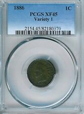 1886 Type 1 Indian Cent : PCGS XF45