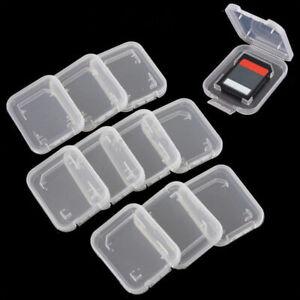 10pcs Transparent Standard SD SDHC Memory Card Case Holder Box Storage Useful