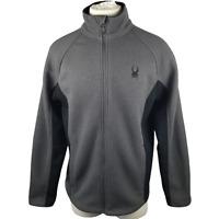 Spyder Mens Constant Core Sweater Full Zip Fleece Lined Jacket Gray Black Medium