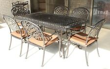 7 Piece Cast Aluminium Outdoor Furniture Set Solid Tables and Chairs
