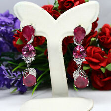 NATURAL RED RUBY, PINK TOPAZ & WHITE CZ LONG EARRINGS 925 STERLING SILVER