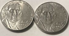 2007 P and D 2 Coin Jefferson Nickel Set In Great Condition