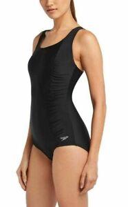 Speedo Women's Swimsuit Black M 8 - 10 Conservative Tank Shirred Sides  UV 50+