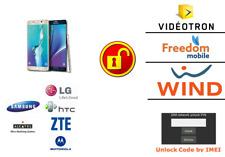 FREEDOM MOBILE / WIND  SAMSUNG, LG, HTC,  MOTO, ZTE, UNLOCK CODE