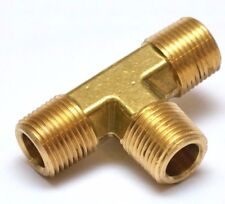 """3/8"""" NPT Male Tee Brass Fitting 3 Way Equal Fuel, Air, Water, Oil, Gas FasParts"""