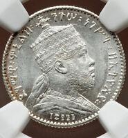 1902/1903-A Ethiopia Menelik II Gersh EE 1895 MS65 NGC SUPERB GEM WHITE KM 12